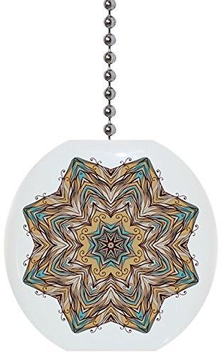 Tan Teal Kaleidoscope Solid Ceramic Fan Pull Ceramic Ceiling Fan Pull