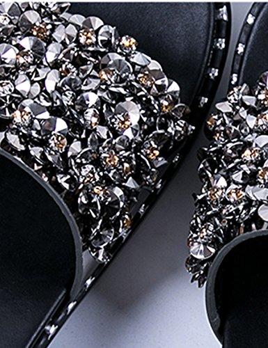 Moda plana con zapatillas Rhinestone desgaste fondo grueso pantuflas ( Color : A , Tamaño : EU39/UK6.0/CN39 ) B