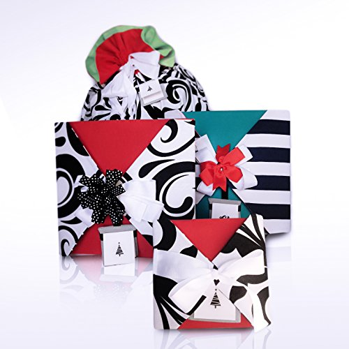 32 Piece Reusable Reversible Fabric Gift Wrap Set Kit with Bag Bows Ribbon Tags Cards – Don't Need Boxes Tissue Wrapping Paper - Fast Easy Beautiful Holiday - Eco Friendly Saves Money by ggwrap