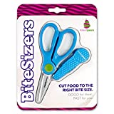 BiteSizers Portable Food Scissors with Cover - Certified Food-Safe by NSF, Stainless Steel, Cuts Baby Food (Blue Hex)