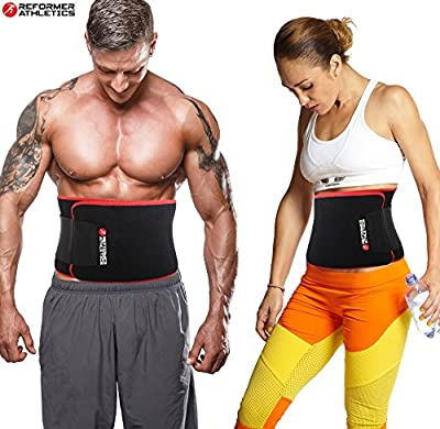 Reformer Athletics Waist Trimmer Ab Belt Trainer for Faster Weight Loss. Includes Free Fully Adjustable Impact Resistant Smartphone Sleeve for iPhone X, 8 and iPhone 8 Plus