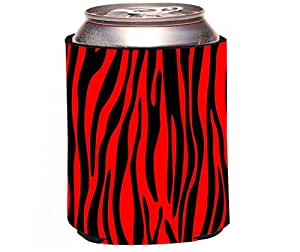 "Rikki Knight ""Zebra Design on Red Design"" Beer Can Soda Drinks Cooler Koozie"