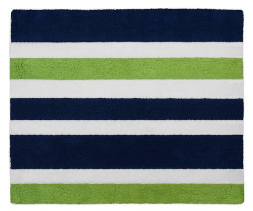 Navy Blue Green White Accent Floor Rug for Stripe Kids Teen Bedding Collection