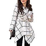Chicwish Women's Turn Down Shawl Collar Earth Tone Check/Black White Grid/Black/Plum/Cream/Pink Wool Blend Coat (Grid in Off-White, M)