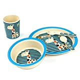 bamboo fiber dinner-ware set 5counts for children, snack plate and cup for children, BPA free, FDA&LFGB Food safety approval