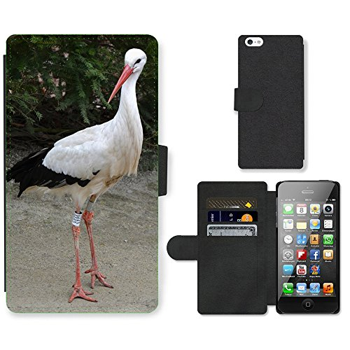 Just Phone Cases PU Leather Flip Custodia Protettiva Case Cover per // M00127470 Cigogne Faune Oiseau // Apple iPhone 5 5S 5G