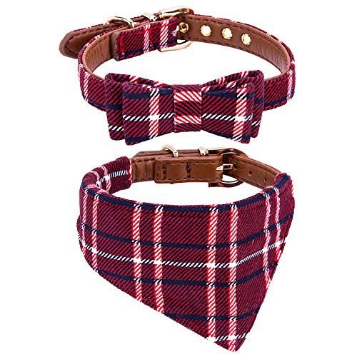 StrawberryEC Puppy Collars for Small Dogs Adjustable Puppy Id Buckle Collar Leather. Cute Plaid Red Bandana Dog Collar ()