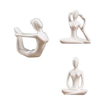 IPOTCH 3X Cerámica Figura De Yoga Ornamento Estatua ...