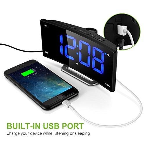 with mk projection clock pictek fm projection alarm clock curved screen digital fm clock radio. Black Bedroom Furniture Sets. Home Design Ideas