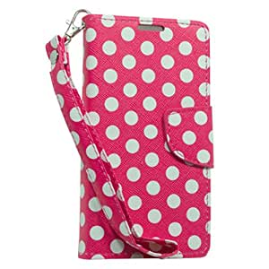 Hot Pink White Polka Dots Pouch Wallet Case Cover For LG L70 with Free Pouch