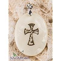Mother Of Pearl Crucifix Cross Handmade Pendant Jerusalem Amulet Holy Land 1.6
