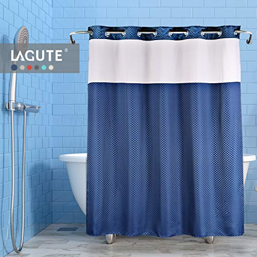 Lagute Snaphook TrueColor Hookless Shower Curtain, Removable Liner | See Through Top | Machine Washable | Navy