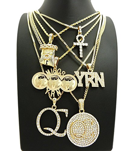 BLINGFACTORY HIP HOP ICED OUT MIGOS QC YRN JESUS ANKH 6 NECKLACE - Offset Chain
