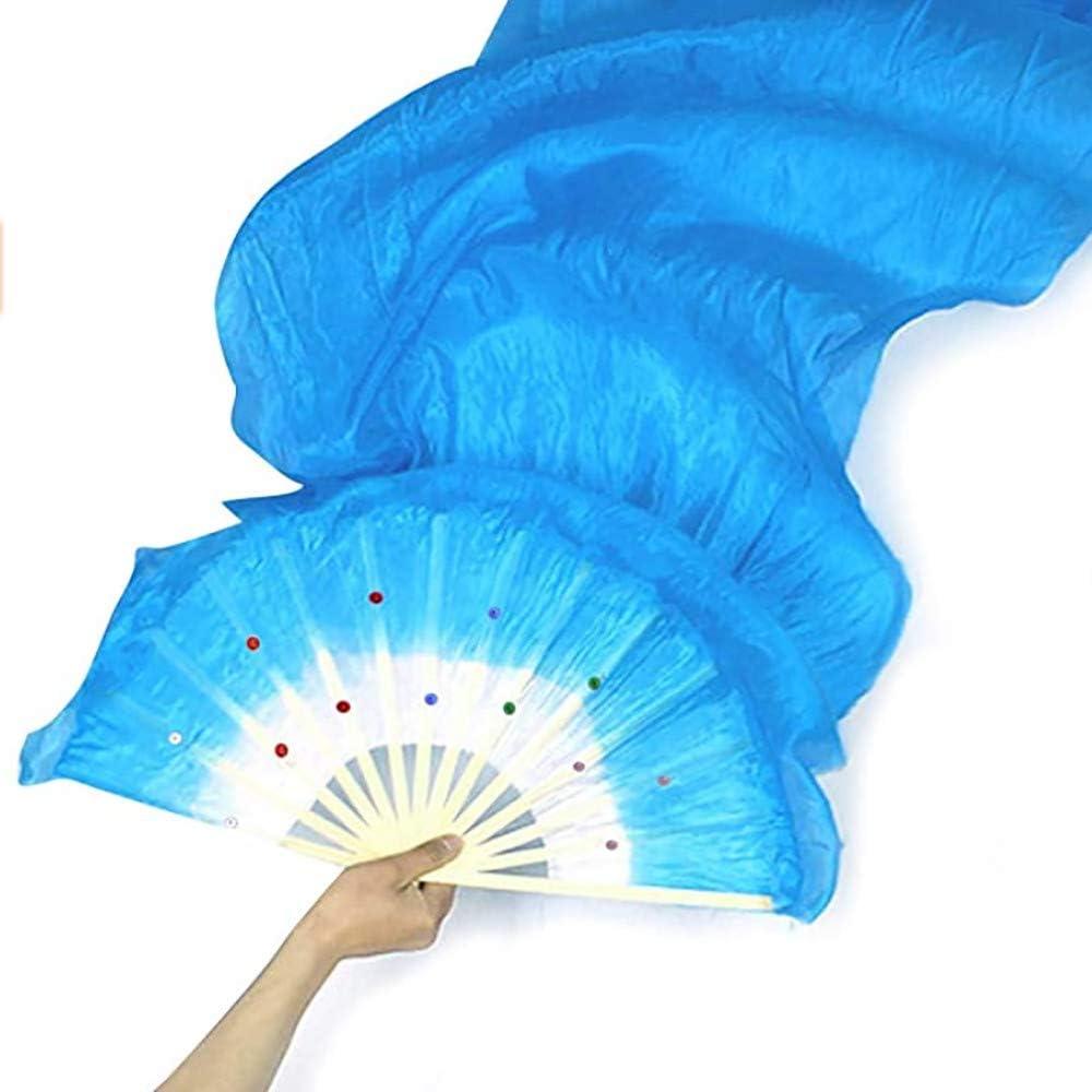 Long Dance Silk Fan Performance Props Bamboo Fans Colorful Women Dance Hand Fan