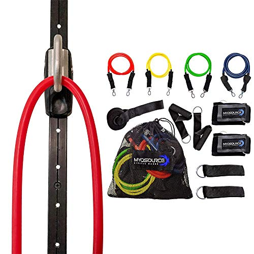 Space Saver Gym Home Gym Resistance Bands Training Tool (Wall Mount Anchor, 1 Adjustable Rail Car) + Full Resistance Bands Training Kit (4 Levels of Resistance) Exercise & - Training Full