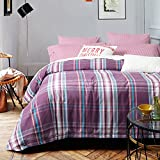 UFO Home 300 Thread Count 100% Cotton Flannel Yarn-dyed Pin Striped Plaid Pattern 4pc Duvet Cover Set Color Purple Full/Queen Size