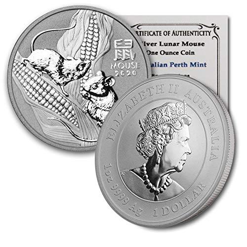 2020 AU Australia 1 oz Silver Lunar Mouse BU in CoinFolio Coin Flip w/COA $1 Brilliant Uncirculated