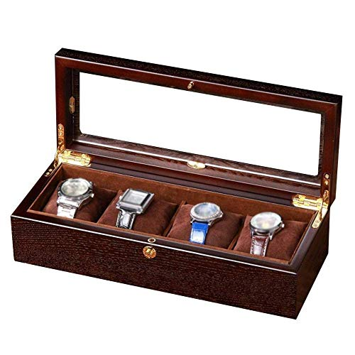 Wooden Watch Box - 4 Slots Glass Top Wood Watches Display Case - Men Women Collection Boxes - Jewelry Storage Organizer with 4 Removable Soft Cushions