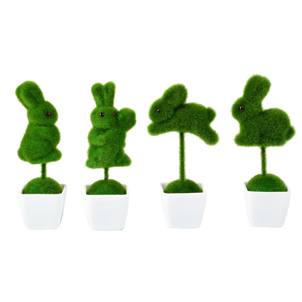 Whthteey LOVE Artificial Plant Bonsai Set Fake Plant in Pot House Home Office Decoration (Animals)