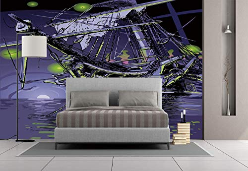 Funky Wall Mural Sticker [ Pirate Ship,Ghost Ship on Fantasy Caribbean Ocean Adventure Island Haunted Vessel Decorative,Purple Lime Green ] Self-adhesive Vinyl Wallpaper / Removable Modern Decorating ()