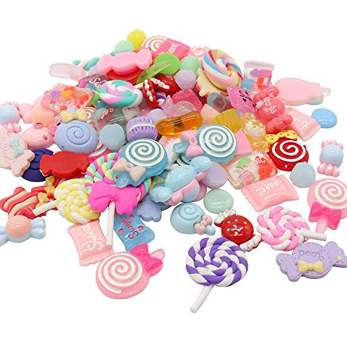 12pcs/lot Resin Lollipop Candy Cabochons DIY Cream Mobile Shell Material Children's Hair Accessories (Style 1) -