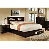 Furniture of America Broadway Platform Bed with Storage Drawer and Light, California King, Espresso