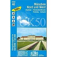 München Nord und West 1 : 50 000: Fürstenfeldbruck, Dachau, Freising-Aichach. (UK 50-40). Wanderwege, Radwanderwege, UTM-Gitter für GPS (UK50 Karte Freizeitkarte Wanderkarte)