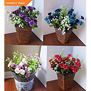 Hebel Set of 4 Artificial Dark Rose Flowers with Plastic Babys Breath | Model ARTFCL - 570 | 91