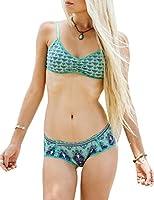 Ninimour Women's 2pcs Tie Dye Aztec Print Swimsuit Swimwear Bikini Set