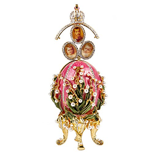 OrlovNY Swarovski Crystals Faberge Egg: Lily of The Valley Faberge Style Egg Jewelry Box Limited Edition Collectible Faberge Reproduction