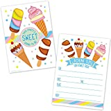 Ice Cream Cone Birthday Party Invitations - Kids Summer Ice Cream Social Invites - (20 Count with Envelopes)