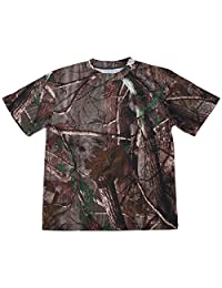 SODIAL(R)New Outdoor Hunting Camouflage T-shirt Men Breathable Army Tactical Combat T Shirt Military Dry Sport Camo Camp Tees-Tree camouflage XL