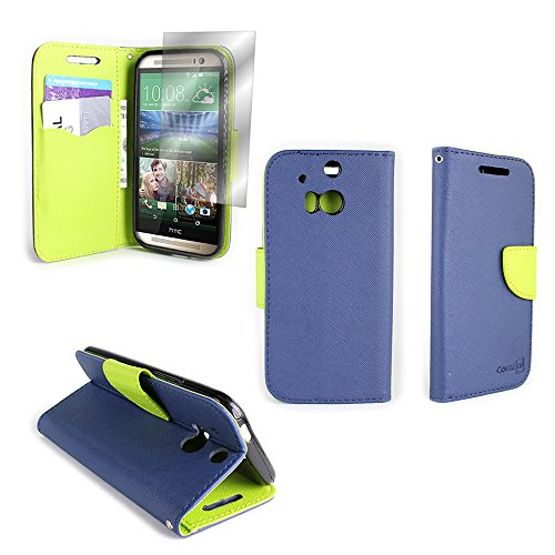 HTC One M8 Wallet Phone Case and Screen Protector | CoverON (CarryAll) Pouch Series | Tough Textured Exterior (Navy Blue / Neon Green) Flip Stand Cover with Credit Card and Cash Holder Slots for HTC One M8 (Android and Windows Versions)