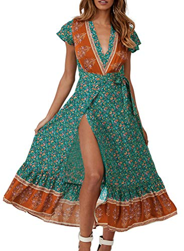 ZESICA Women's Bohemian Floral Printed Wrap V Neck Short Sleeve Split Beach Party Maxi Dress Vintage Green