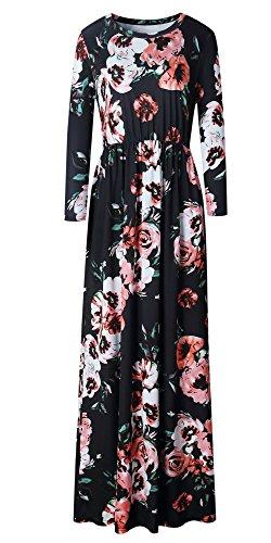 LiMiCao Women Fashion Printed Long Dress Three Quarter Sleeve Retro Flower Floor Length Maxi Dress (XL, Black)