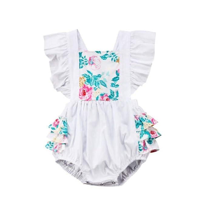 Wang-RX Niños recién Nacidos del bebé sin Mangas Floral del ...