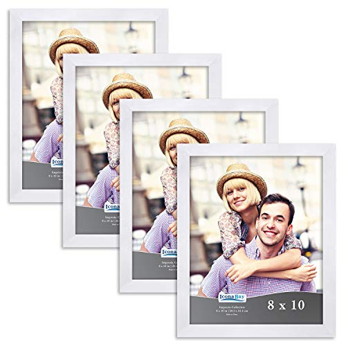Icona Bay 8x10 Picture Frame Set (4 Pack, White) 8 x 10 Frame, Tabletop and Wall Hang Photo Frames, Impresia Collection ()