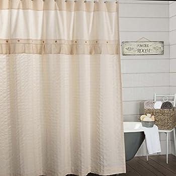 Claras Cottage Natural Shower Curtain 72x72 Linen Look Cream Farmhouse Bathroom Decor