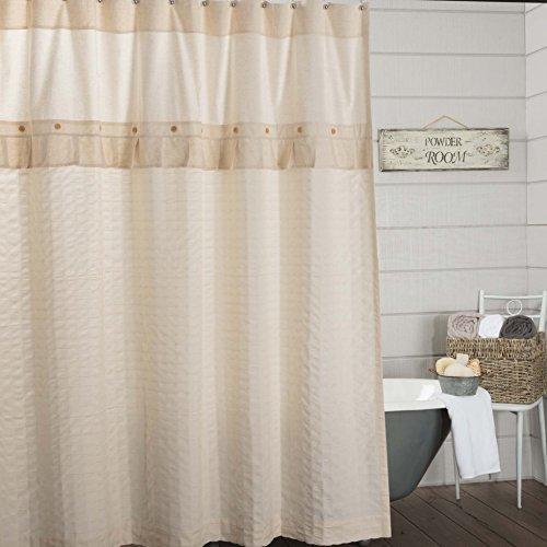 Clara's Cottage Natural Shower Curtain. 72x72, Linen Look Cream Farmhouse Bathroom Decor