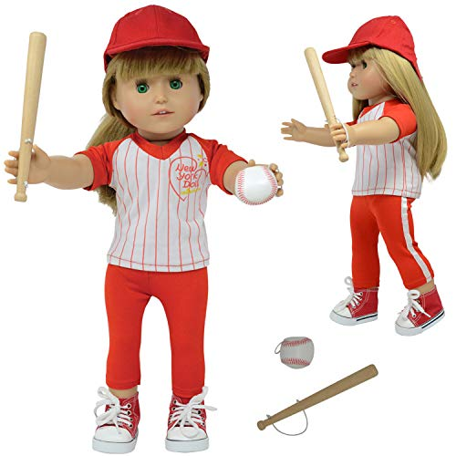 """The New York Doll Collection 18"""" Doll Baseball Set - Baseball Uniform Fits American Girl Dolls - Doll Accessories Included"""