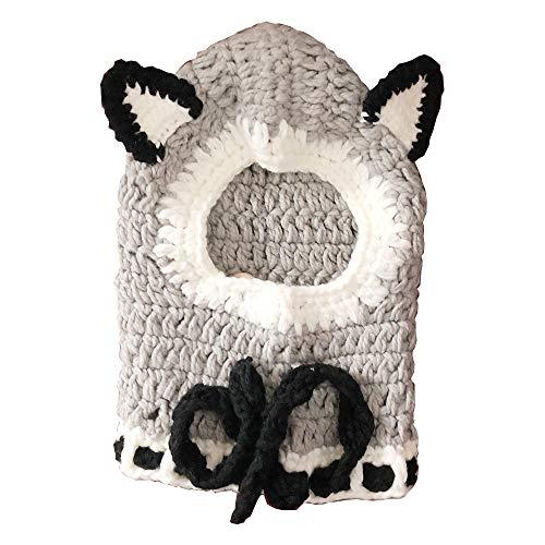 Kids Knitted Hooded Scarf Hats Winter Ear Warmers Cartoon Woolen Cap (Wolf) ()