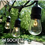 S14 24 Bulbs Outdoor String Lights with 6 Extra Bulbs and 13 Ft Extension Cord, 48 Feet - Commercial Weatherproof Patio String Lights