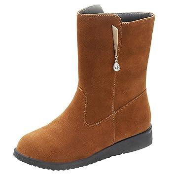 Logobeing Botines Planos Mujer de Diamantes de ImitacióN Medio Tubo de Gamuza Botas de Altas Botas de Cremallera Invierno Zapatos Plataforma(35,Marrón): ...