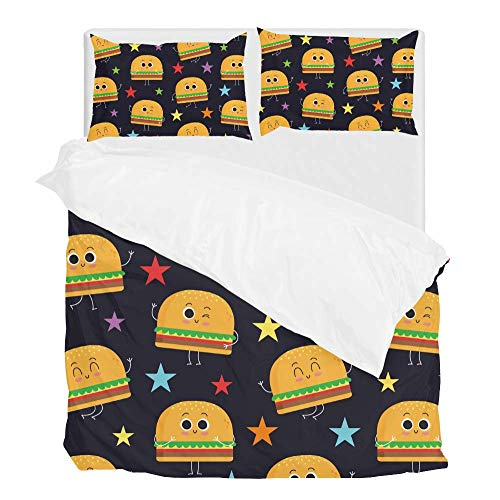 Chen Miranda 2pcs Duvet Cover Set Twin Soft Polyester Cute Fast Food Burger Printed Bedding Comforter Cover with 1 Pillow Shams