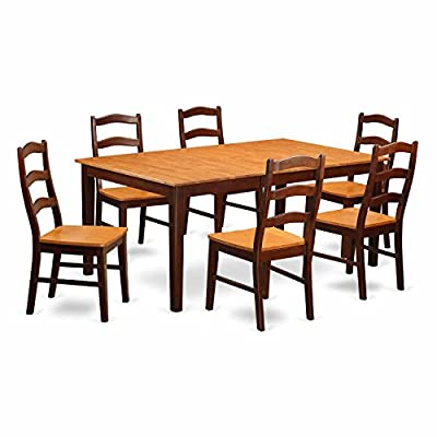 HENL7-BRN-W 7 Pc Dining room set for 6-Table with Leaf and 6 Dining Chairs. - 7 piece Henley Rectangular Table With 18in Butterfly Leaf and 6 Wood seat chairs. Dining table features an integrated 18 inch self storing Butterfly Leaf that can easily be stored right under the table top Top notch kitchen set which crafted from all Asian Hardwood. Absolutely no MDF, veneer, laminate applied to our items. - kitchen-dining-room-furniture, kitchen-dining-room, dining-sets - 51IsIfDjnYL. SS400  -