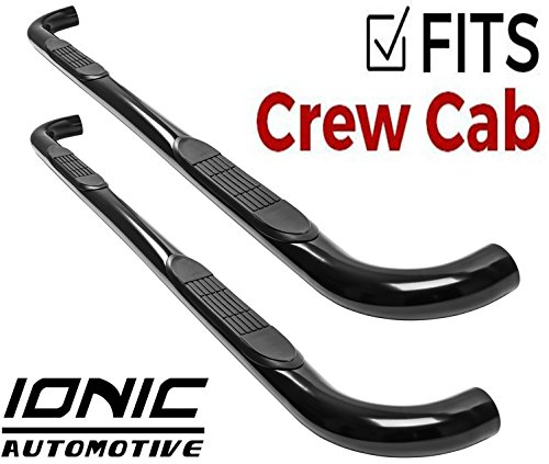 "Ionic 3"" Black (fits) 2001-2018 Chevy Silverado GMC Sierra Crew Cab Body Mount Only Nerf Bars Side Steps (202210)"