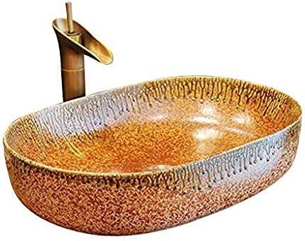 バスルーム長方形拡大洗面シンク景徳鎮セラミックホテルアンチスプラッシュ洗面蛇口セット