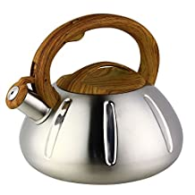 OCATO Pumpkin-Shaped Whistling Tea Kettle Stainless Steel Vintage Wood Grain Handle Stove Top Kettle 3.17-Quart(3.0L)