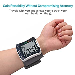 LotFancy Automatic Wrist Blood Pressure Cuff Monitor with Portable Case, FDA Approved, 2 User Mode, IHB Detection