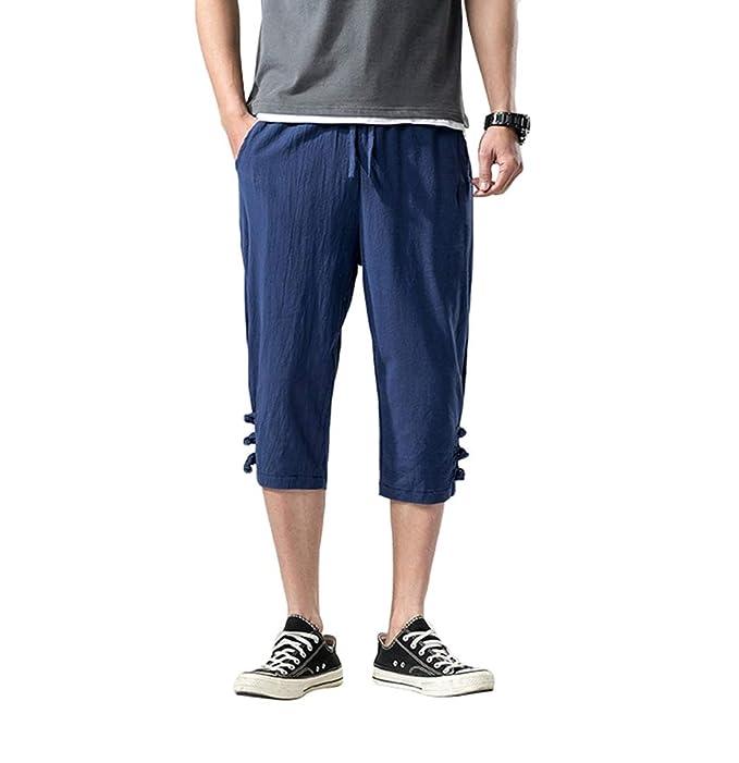 Haobing Hombre Pantalones Harem de Lino Cintura elástica ...